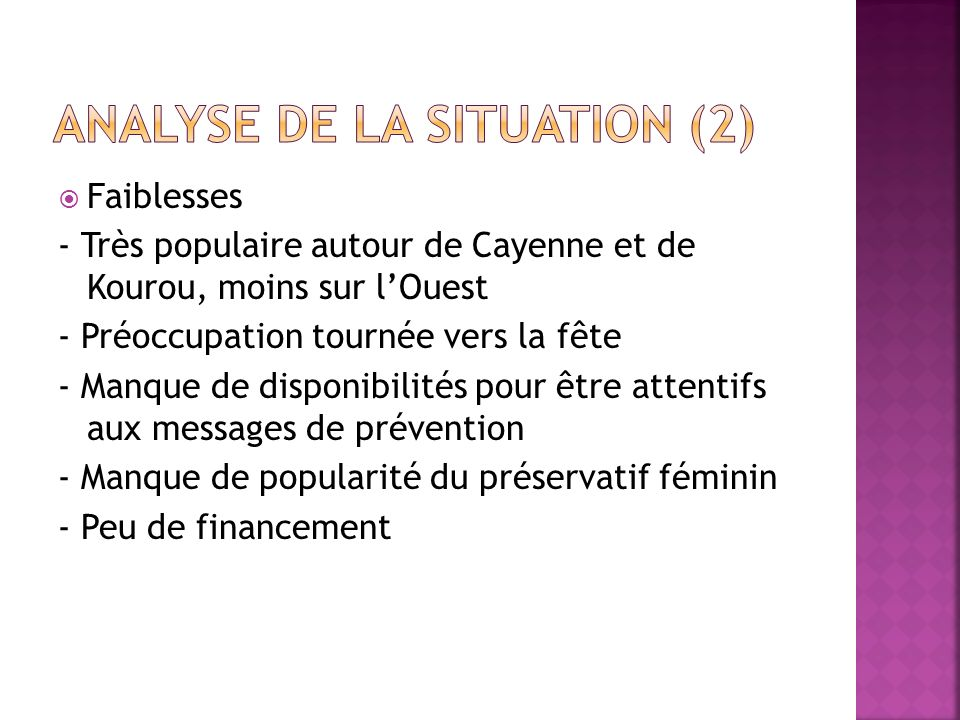 Analyse de la situation (2)