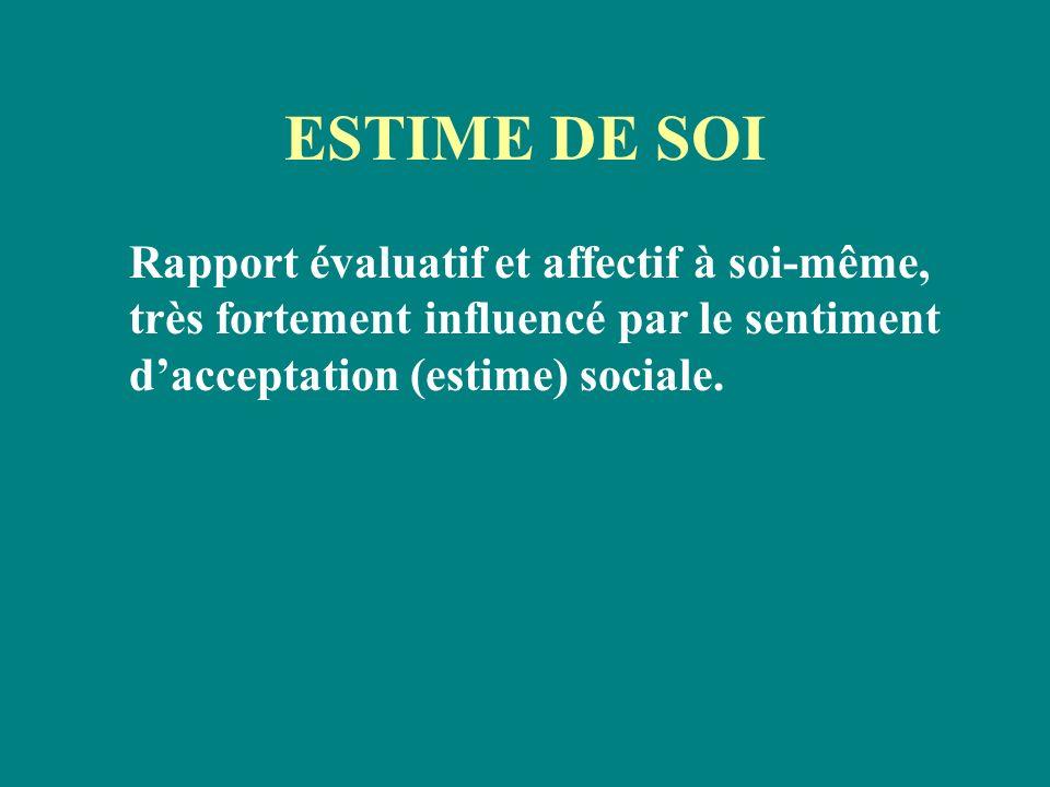 ESTIME DE SOIRapport évaluatif et affectif à soi-même, très fortement influencé par le sentiment d'acceptation (estime) sociale.