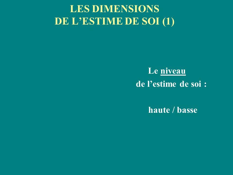 LES DIMENSIONS DE L'ESTIME DE SOI (1)