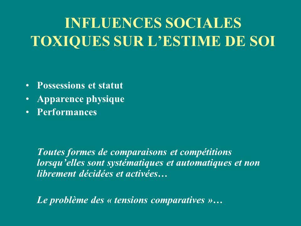 INFLUENCES SOCIALES TOXIQUES SUR L'ESTIME DE SOI