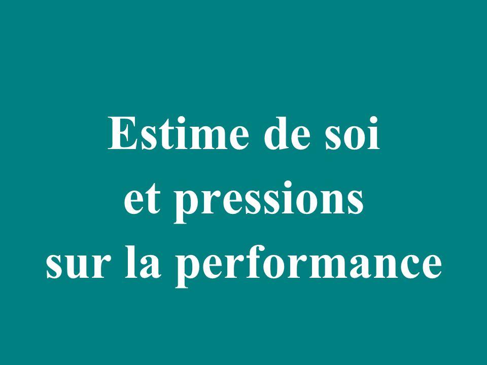 Estime de soi et pressions sur la performance