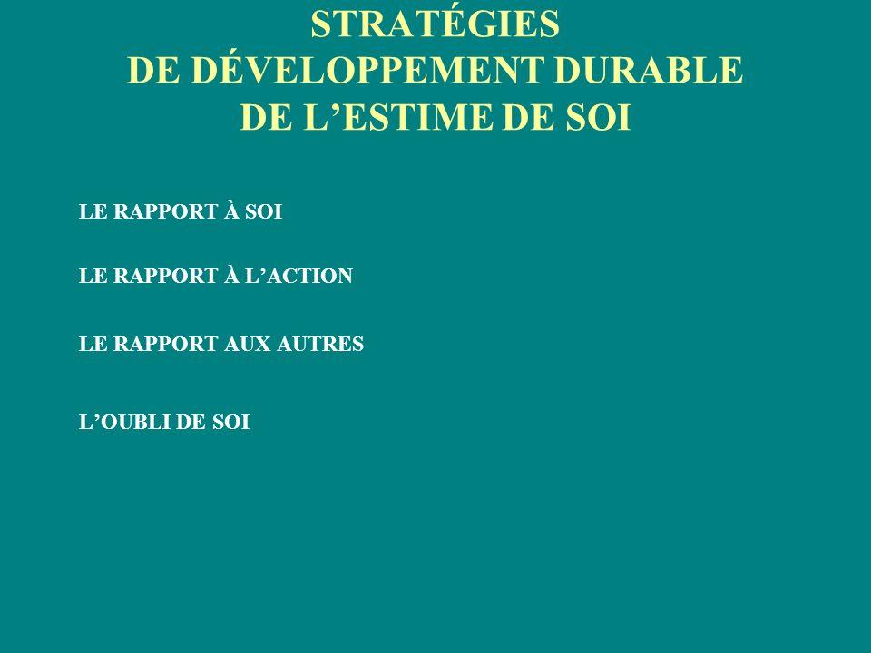 STRATÉGIES DE DÉVELOPPEMENT DURABLE DE L'ESTIME DE SOI
