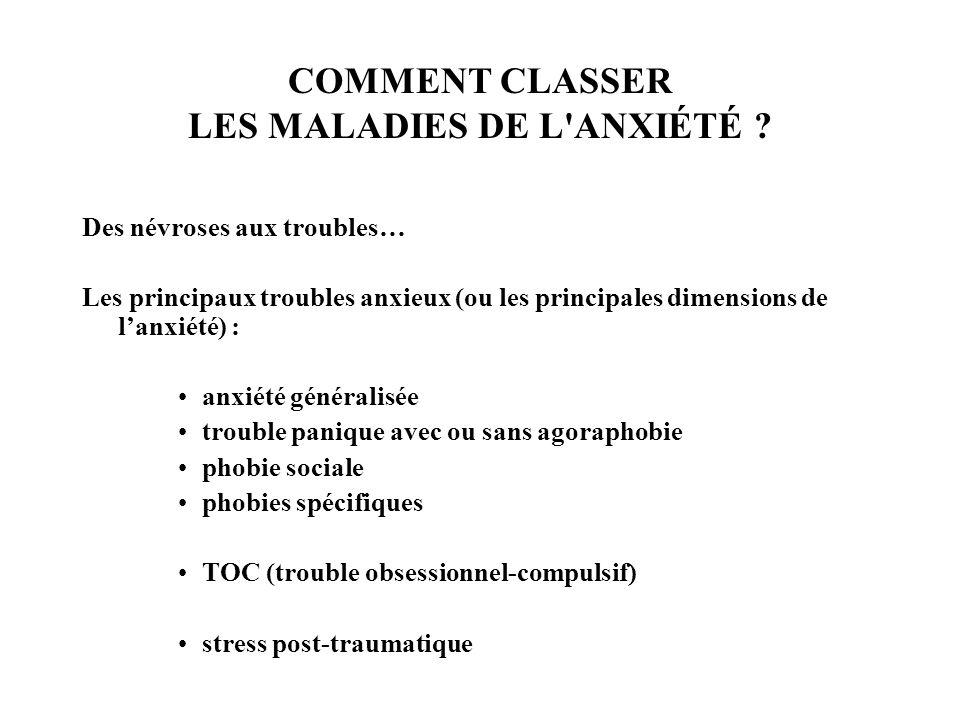 COMMENT CLASSER LES MALADIES DE L ANXIÉTÉ