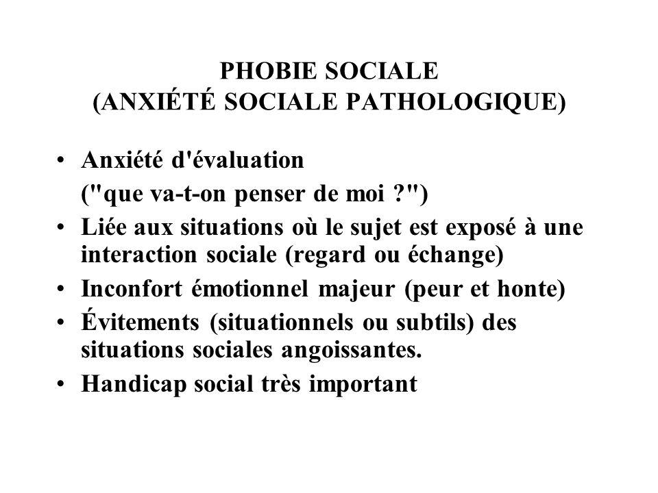 PHOBIE SOCIALE (ANXIÉTÉ SOCIALE PATHOLOGIQUE)