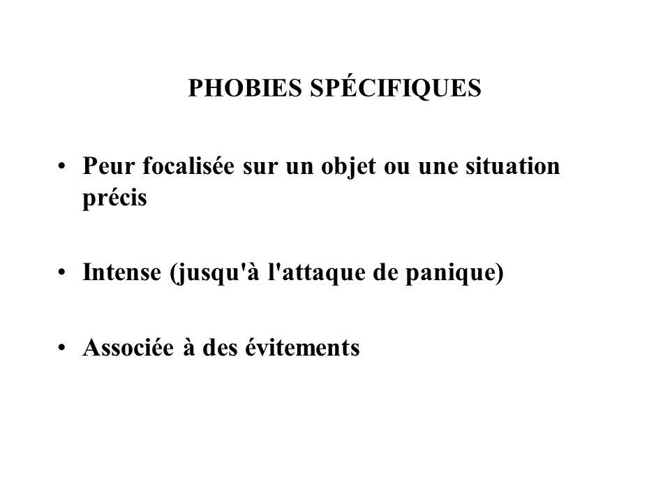 PHOBIES SPÉCIFIQUESPeur focalisée sur un objet ou une situation précis. Intense (jusqu à l attaque de panique)