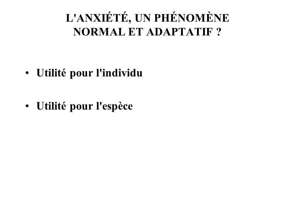 L ANXIÉTÉ, UN PHÉNOMÈNE NORMAL ET ADAPTATIF