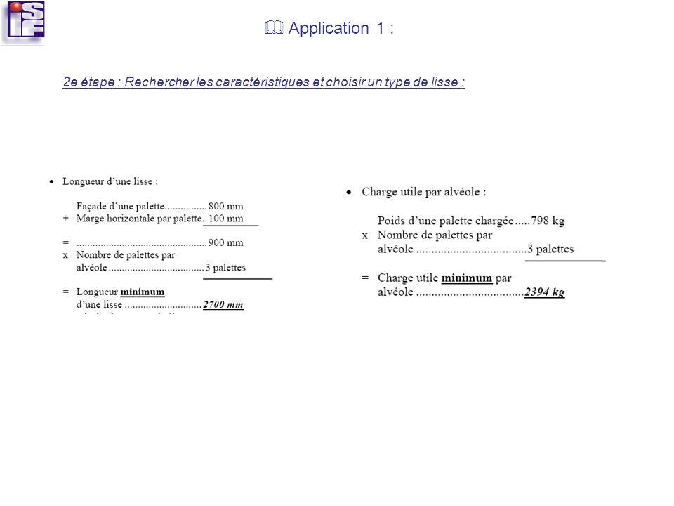  Application 1 : 2e étape : Rechercher les caractéristiques et choisir un type de lisse :