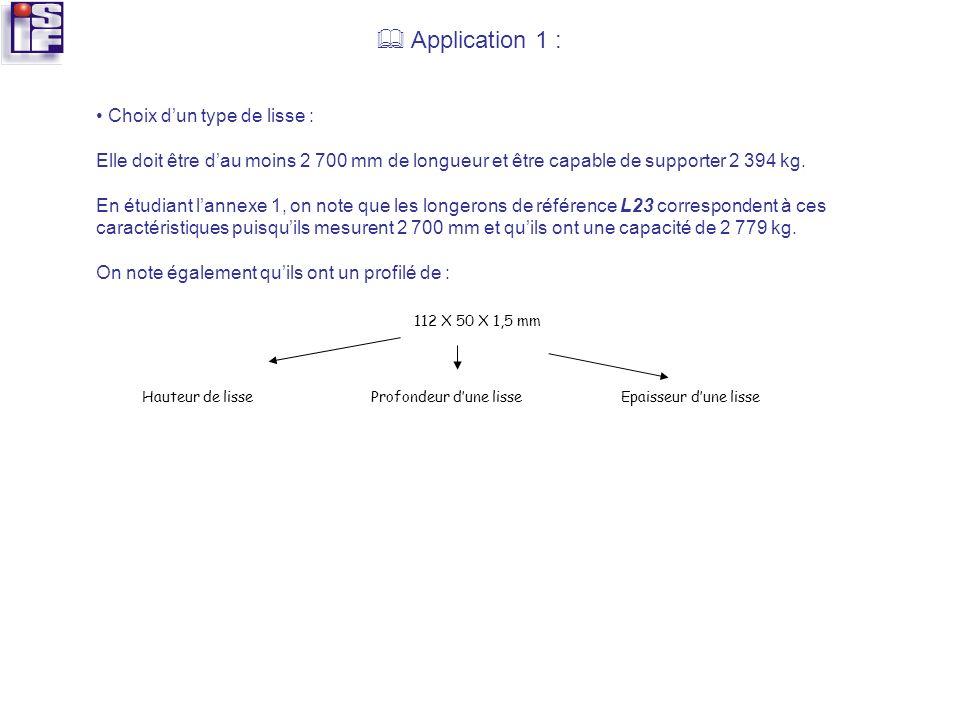  Application 1 : • Choix d'un type de lisse :