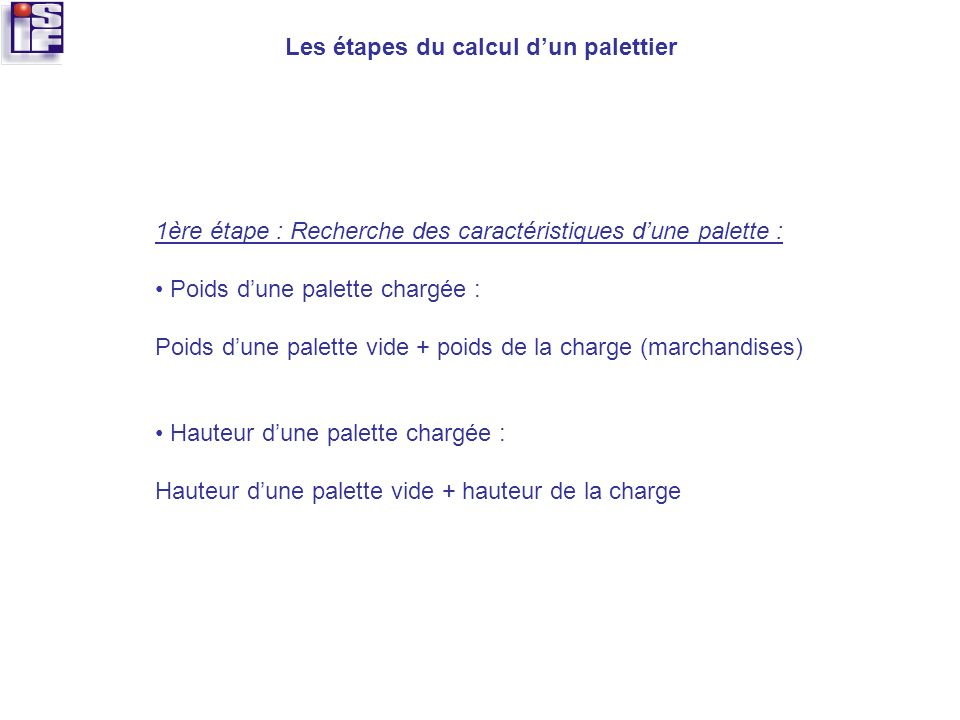 Le dimensionnement des palettiers ppt video online t l charger - Poids d une palette europe ...