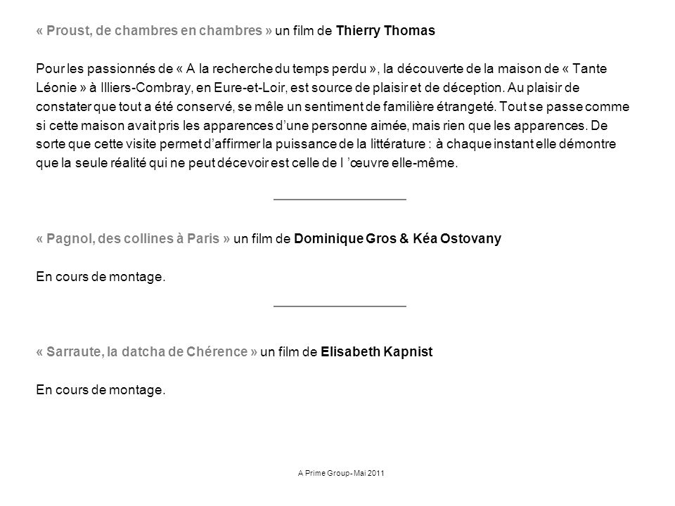 « Proust, de chambres en chambres » un film de Thierry Thomas