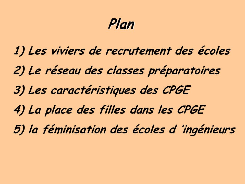 Plan 1) Les viviers de recrutement des écoles
