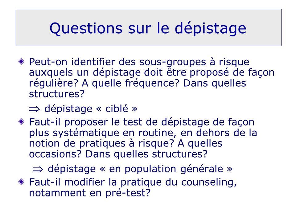 Questions sur le dépistage