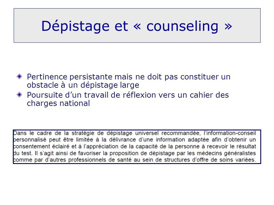 Dépistage et « counseling »