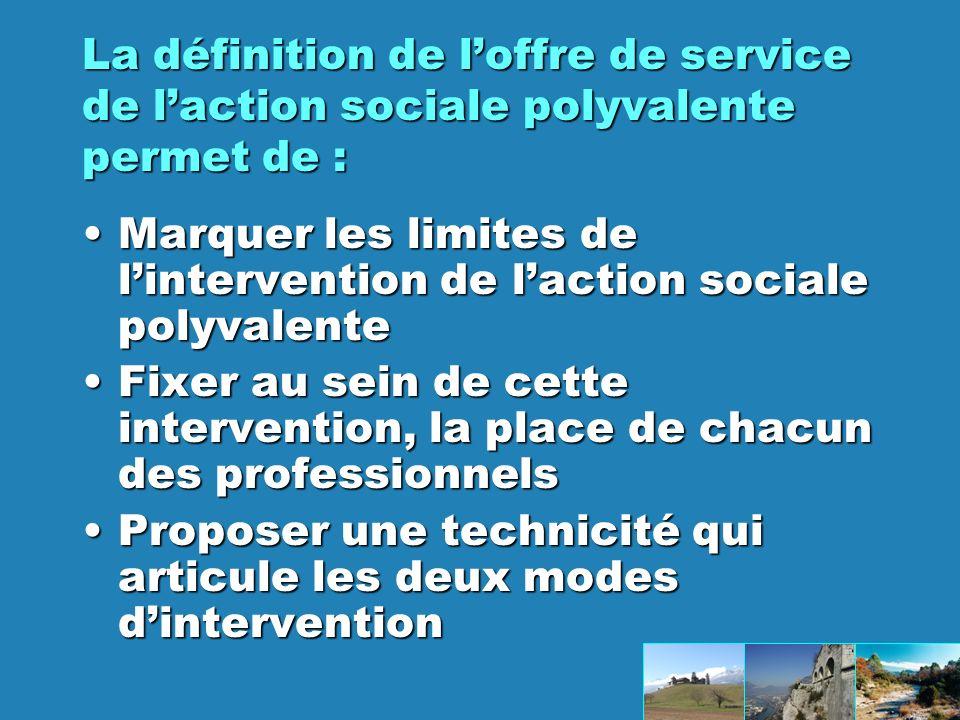 La définition de l'offre de service de l'action sociale polyvalente permet de :