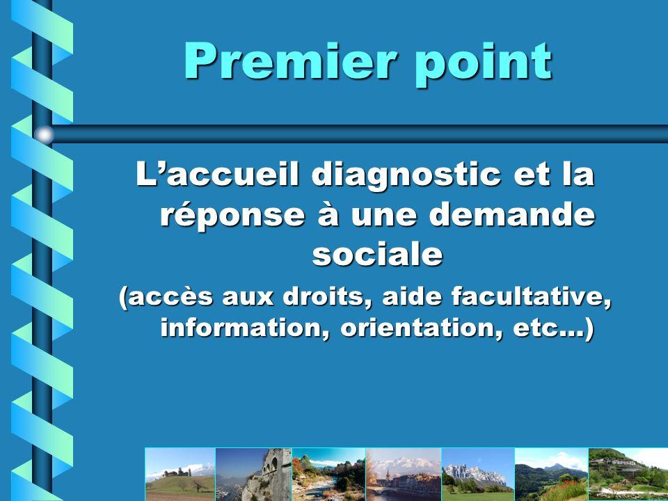 Premier point L'accueil diagnostic et la réponse à une demande sociale