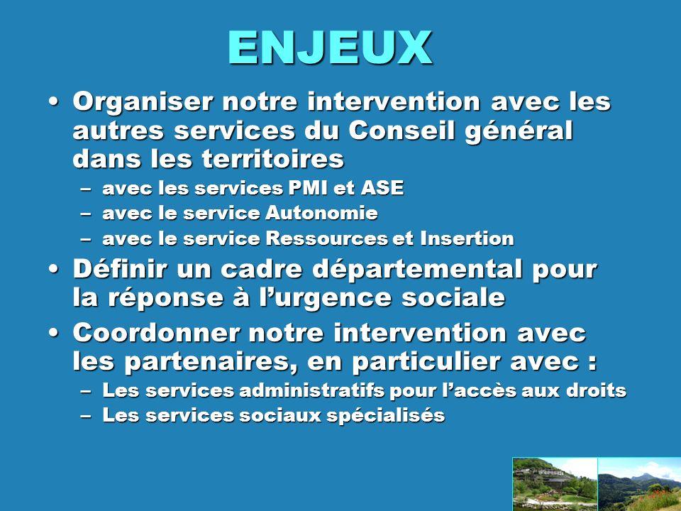 ENJEUX Organiser notre intervention avec les autres services du Conseil général dans les territoires.