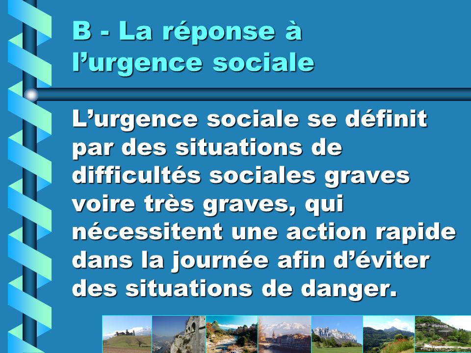B - La réponse à l'urgence sociale