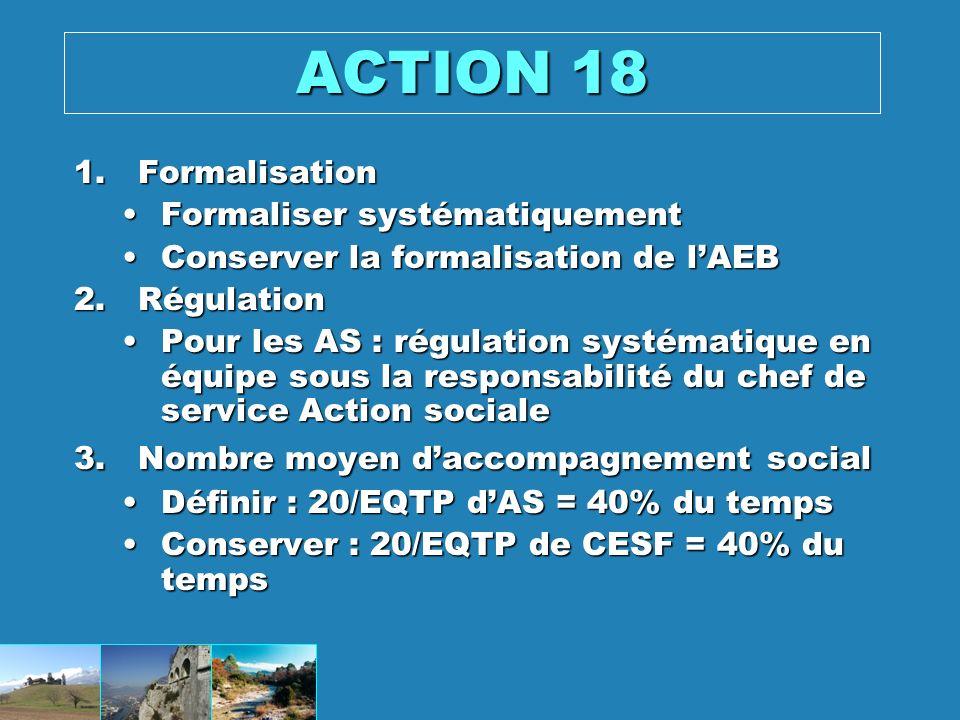 ACTION 18 Formalisation Formaliser systématiquement