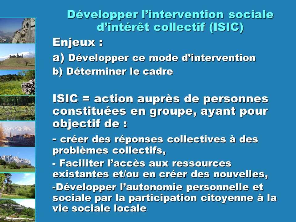 Développer l'intervention sociale d'intérêt collectif (ISIC)