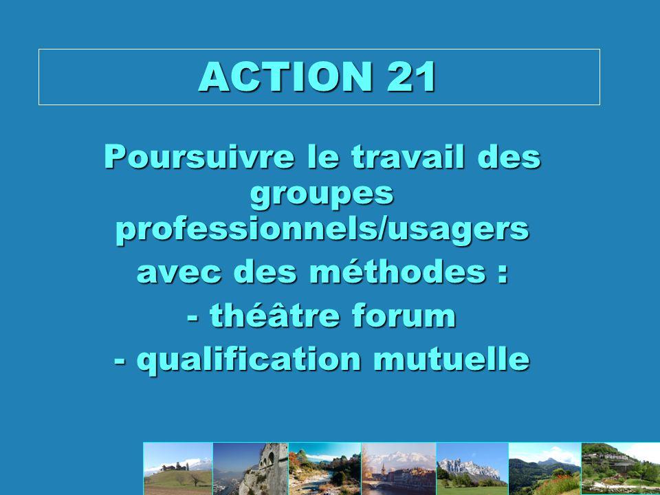 ACTION 21 Poursuivre le travail des groupes professionnels/usagers
