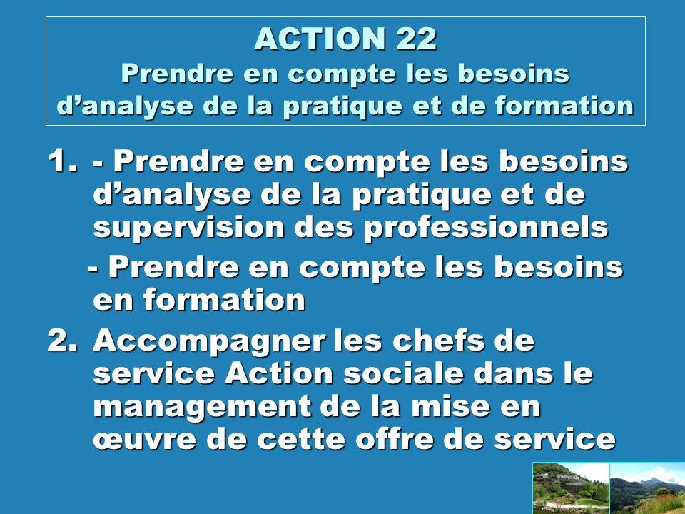 ACTION 22 Prendre en compte les besoins d'analyse de la pratique et de formation
