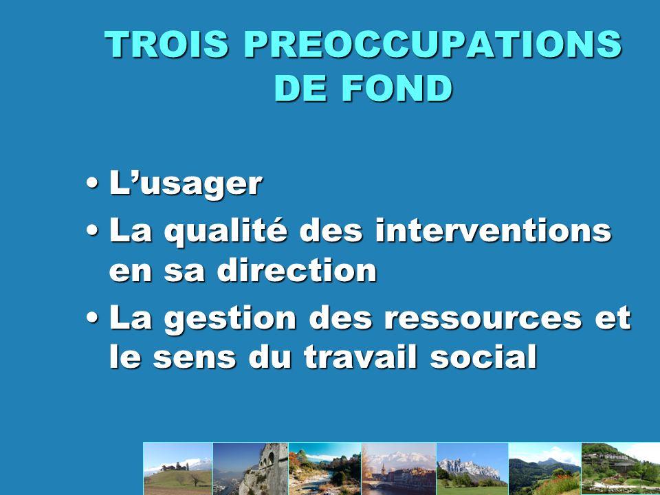 TROIS PREOCCUPATIONS DE FOND