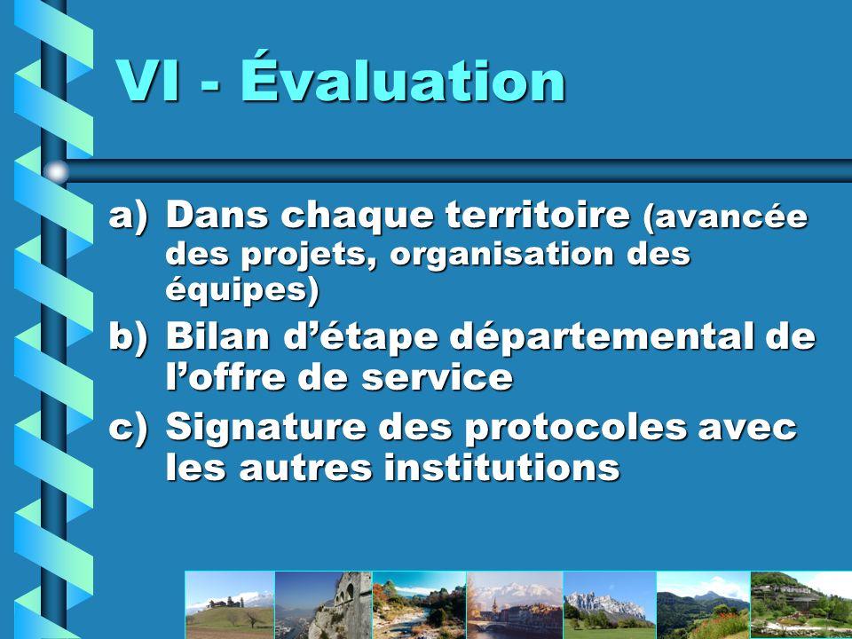 VI - Évaluation Dans chaque territoire (avancée des projets, organisation des équipes) Bilan d'étape départemental de l'offre de service.
