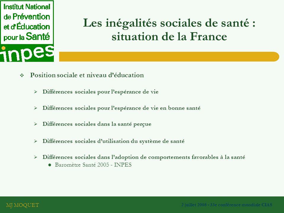 Les inégalités sociales de santé : situation de la France