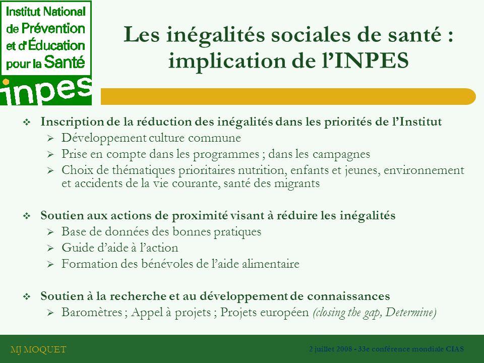 Les inégalités sociales de santé : implication de l'INPES