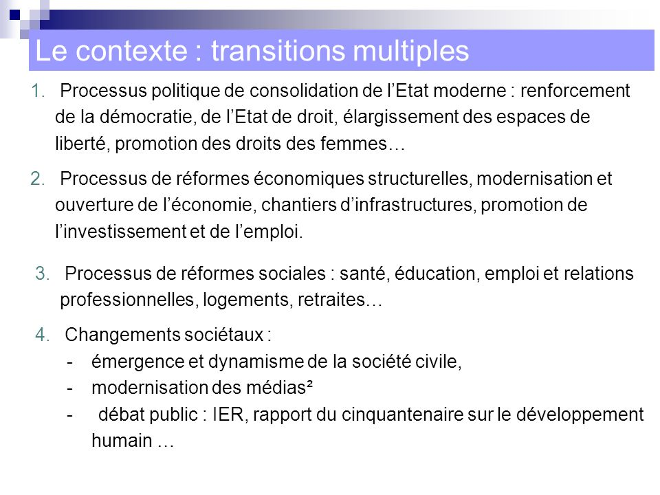 Le contexte : transitions multiples