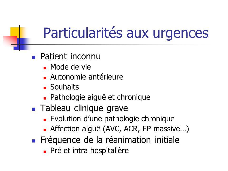 Particularités aux urgences