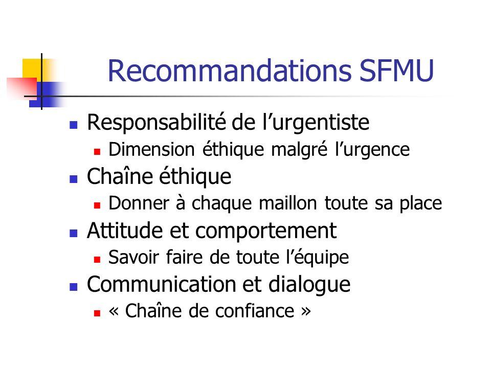 Recommandations SFMU Responsabilité de l'urgentiste Chaîne éthique