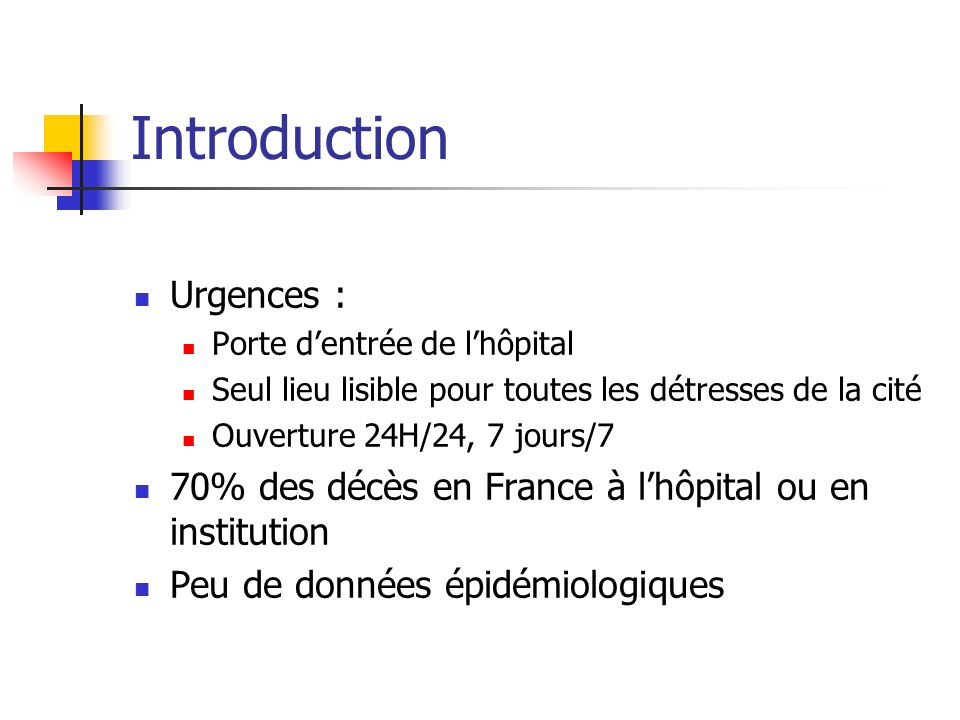 Introduction Urgences :