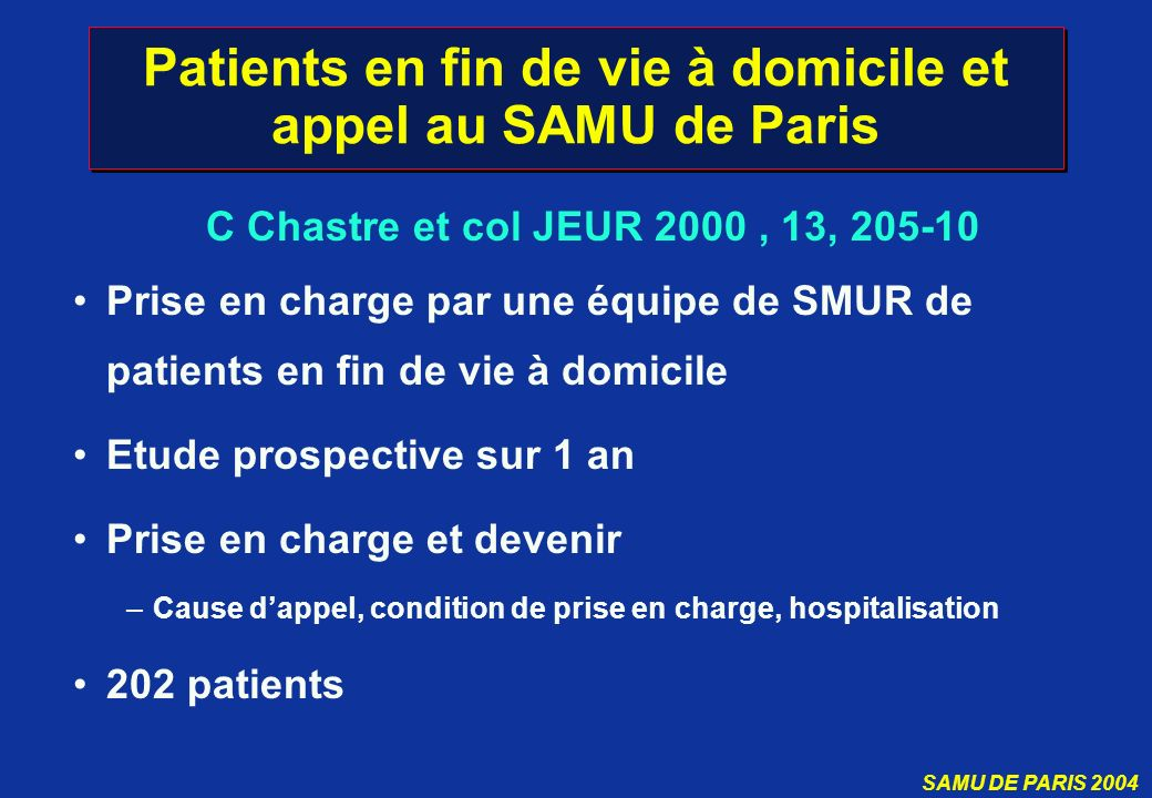 Patients en fin de vie à domicile et appel au SAMU de Paris