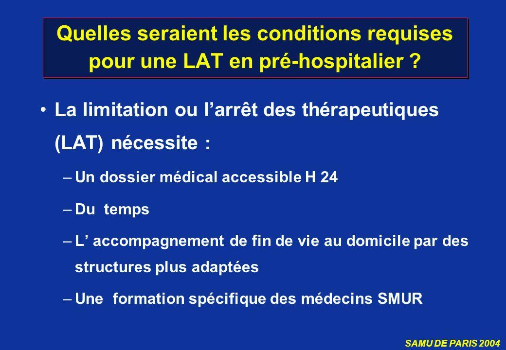 Quelles seraient les conditions requises pour une LAT en pré-hospitalier
