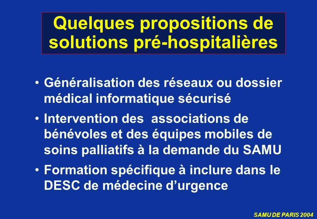Quelques propositions de solutions pré-hospitalières