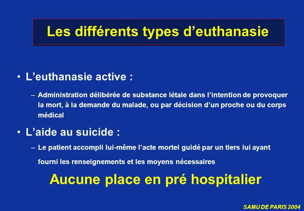 Les différents types d'euthanasie