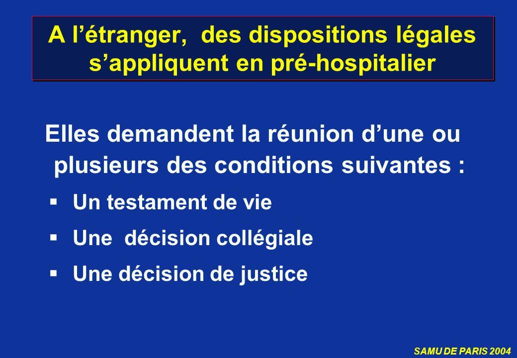 A l'étranger, des dispositions légales s'appliquent en pré-hospitalier
