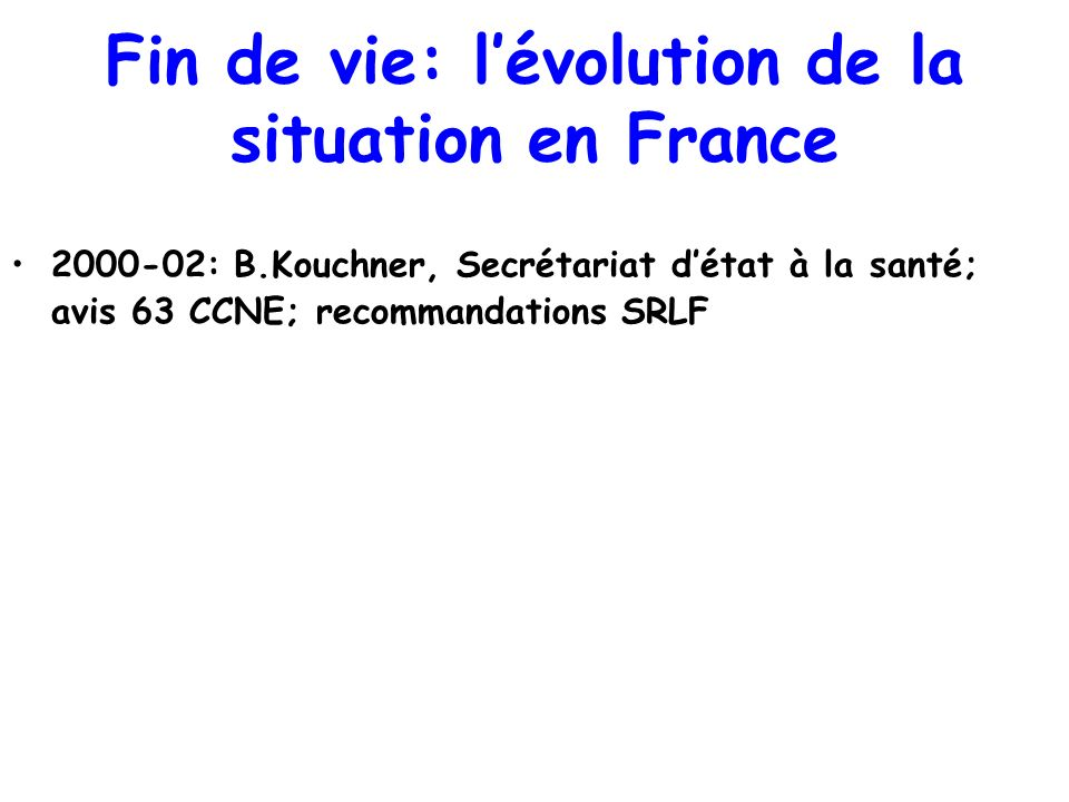 Fin de vie: l'évolution de la situation en France