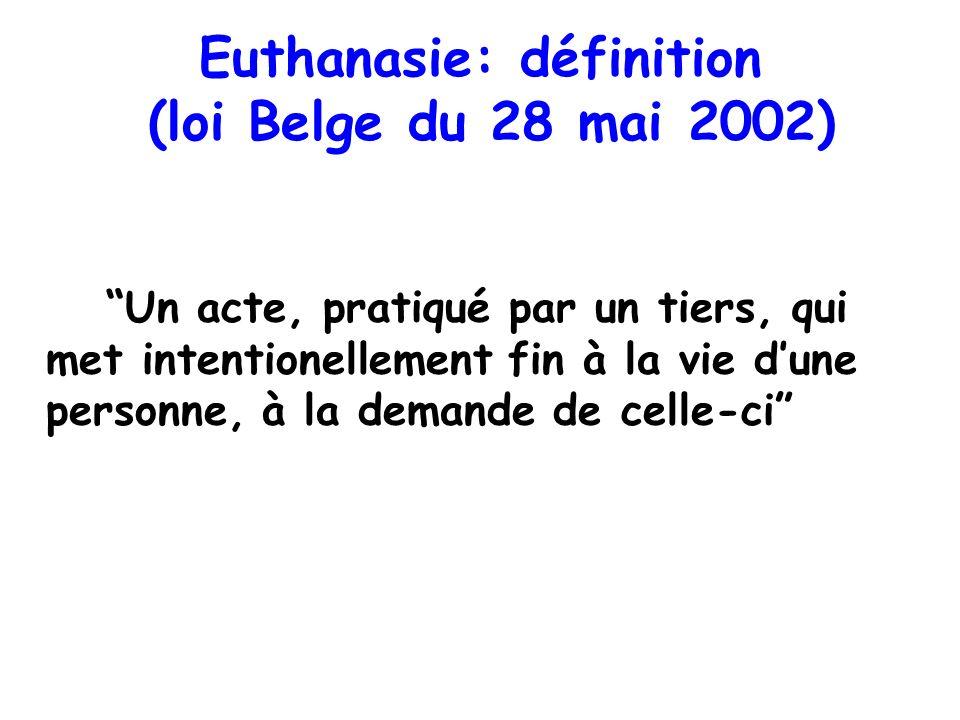 Euthanasie: définition (loi Belge du 28 mai 2002)