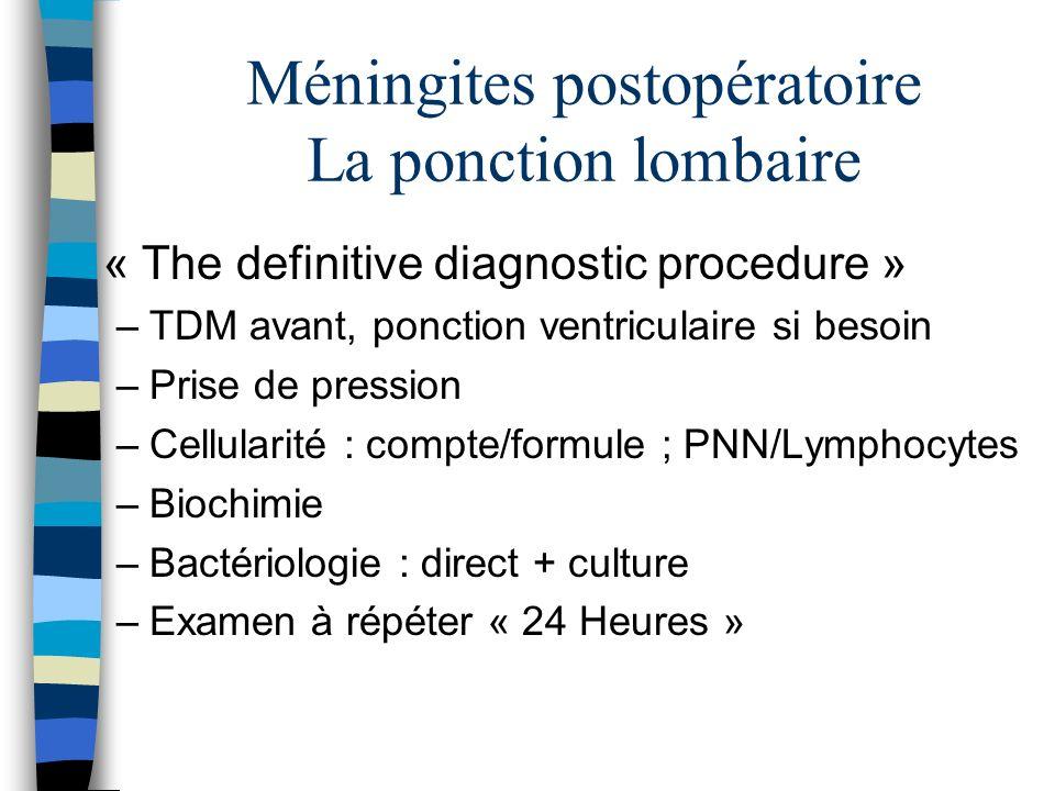 Méningites postopératoire La ponction lombaire