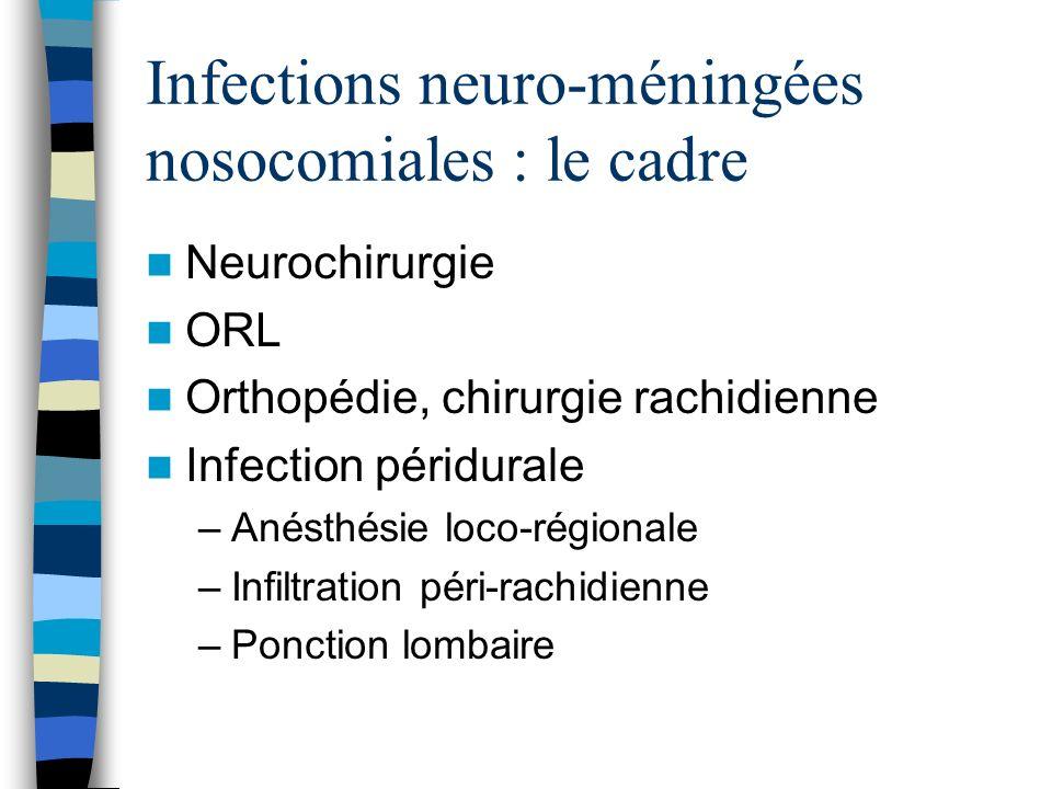 Infections neuro-méningées nosocomiales : le cadre
