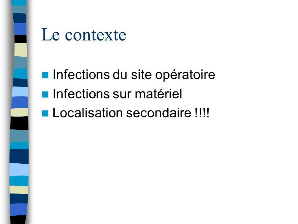 Le contexte Infections du site opératoire Infections sur matériel