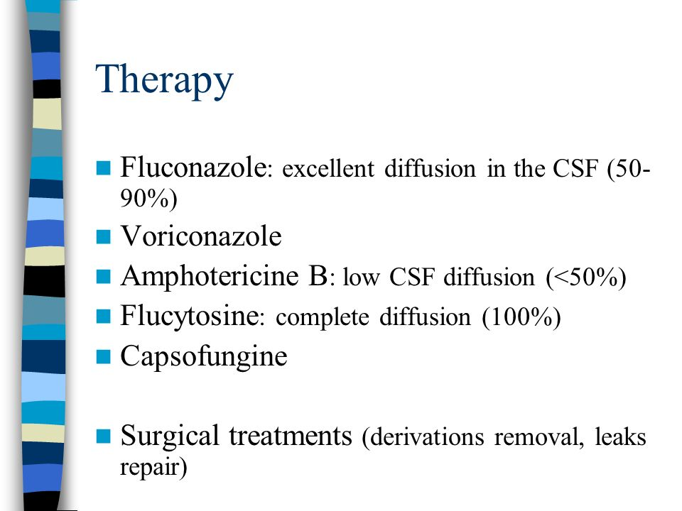 Therapy Fluconazole: excellent diffusion in the CSF (50-90%)
