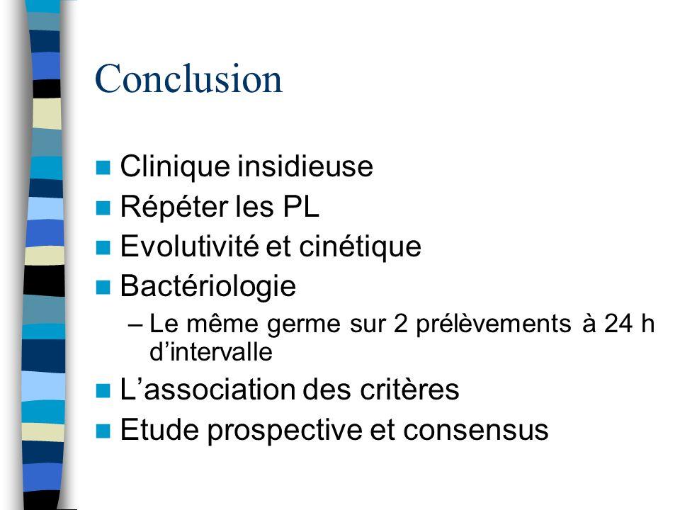 Conclusion Clinique insidieuse Répéter les PL Evolutivité et cinétique