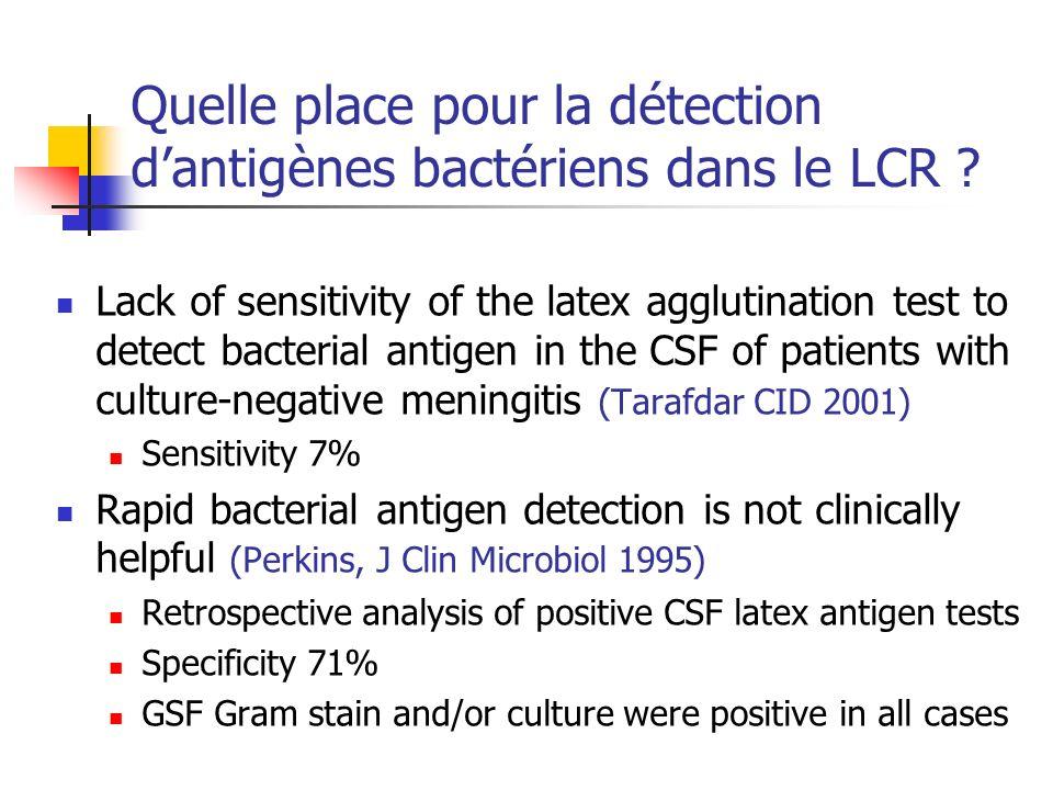 Quelle place pour la détection d'antigènes bactériens dans le LCR