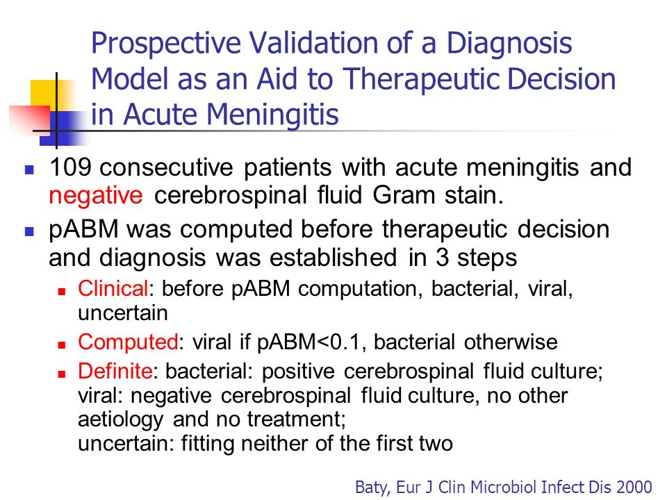 Prospective Validation of a Diagnosis Model as an Aid to Therapeutic Decision in Acute Meningitis