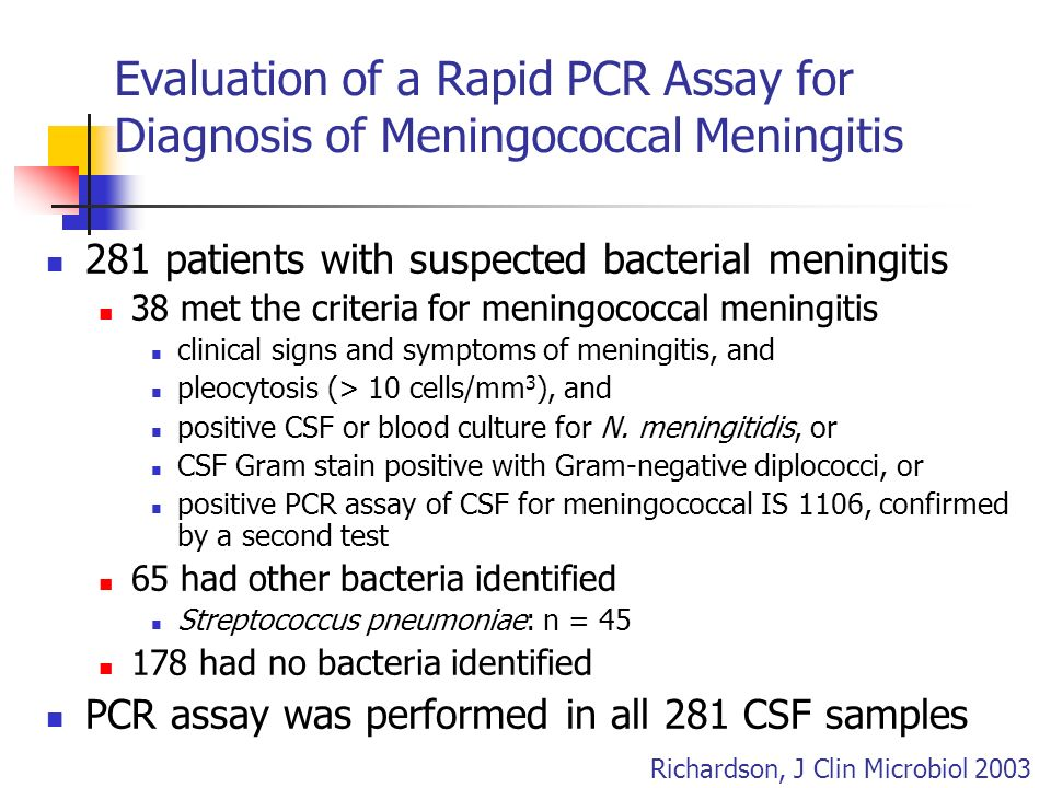 Evaluation of a Rapid PCR Assay for Diagnosis of Meningococcal Meningitis
