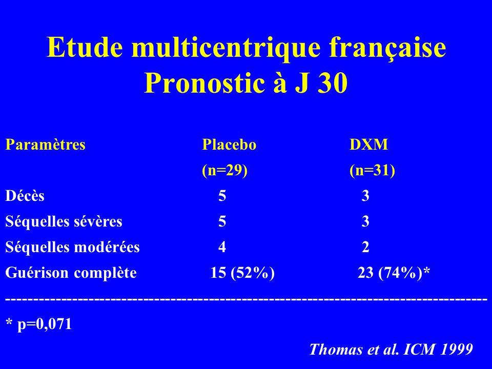 Etude multicentrique française Pronostic à J 30
