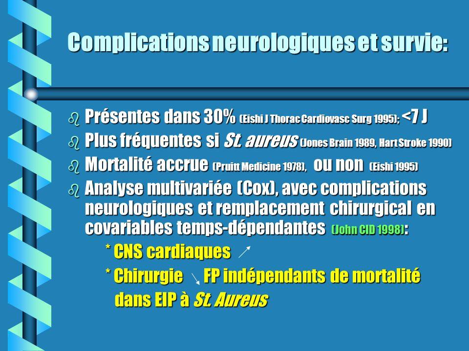 Complications neurologiques et survie: